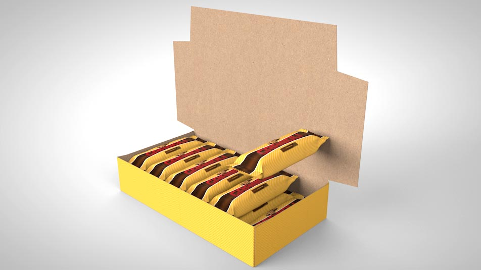 Bakery packaging design cartons for retail shelves.