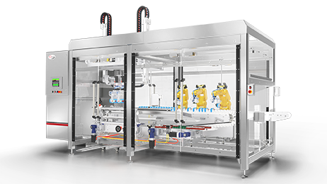 Robotic spouted pouch carton packer for Delkor carton closers