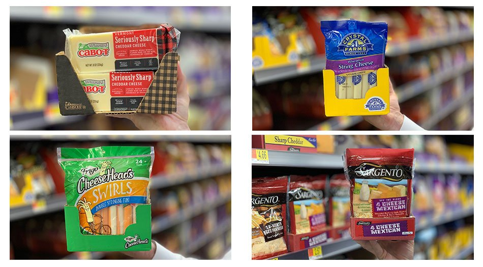 Cheese Expo Delkor retail ready package design audit in Walmart
