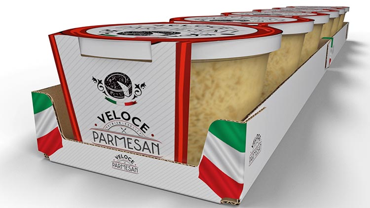 Cheese packaging shelf ready package design Turbo Case