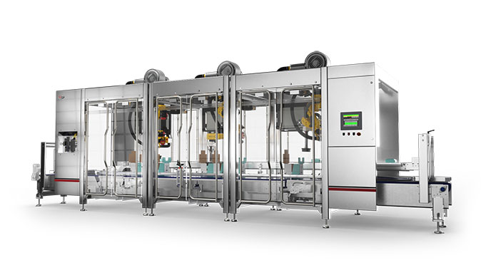Robotic top loader for dairy packaging