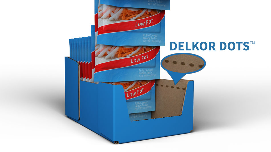 Delkor dots packaging keeps products upright when shopped.