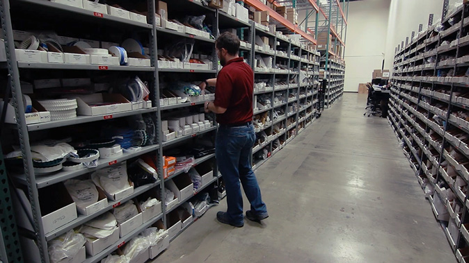 Delkor parts department associate sorting and picking parts