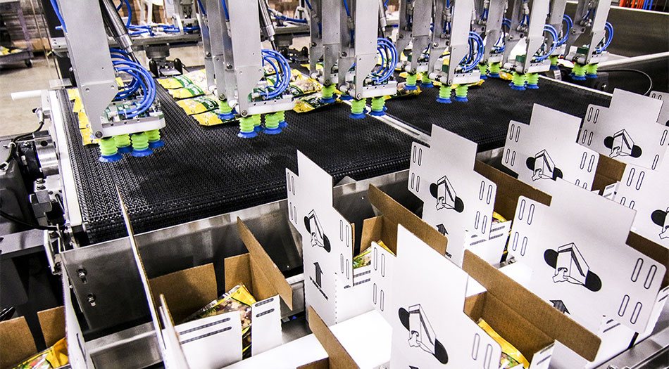 High speed case packer with gantry robots to pack as many as 12 cases at a time.