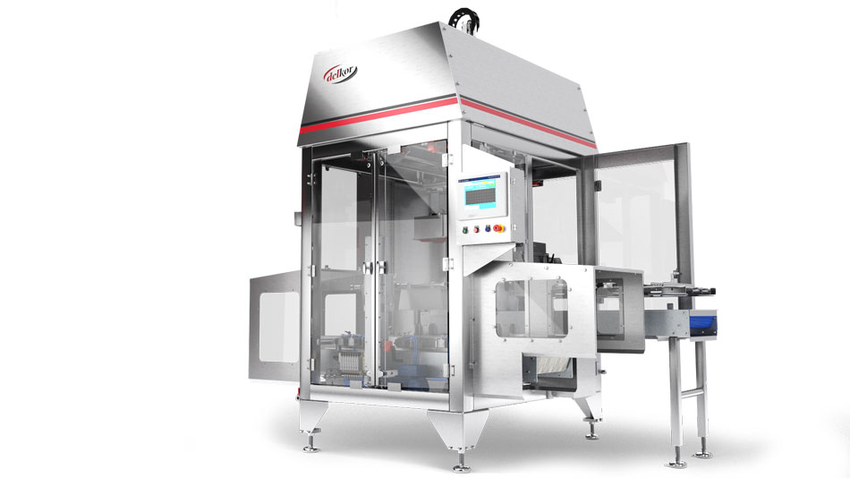 Ice cream packaging rigid cup and tub case packer Delkor Flexloader