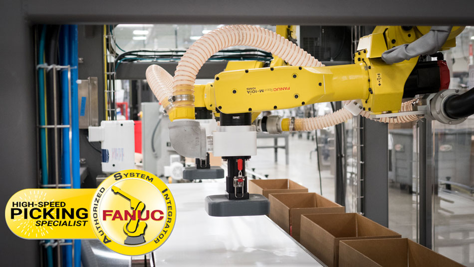 Pick and place robot that uses Fanuc robotics for reliable and high speed carton packing