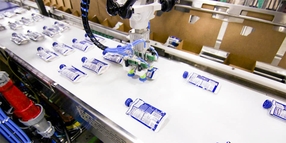 Pick and place robot for efficient packing of fitment style pouches