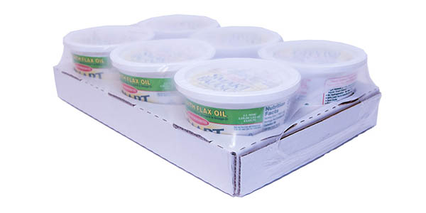 Retail ready tray with cutouts and shrink wrap