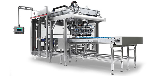 Rigid case packer that picks containers directly from filler