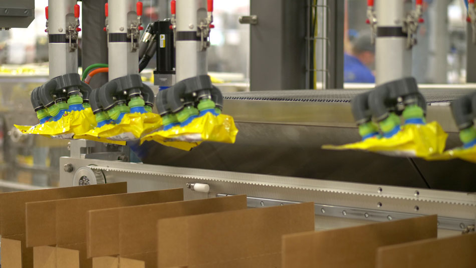 Robotic Case Packer optimized for efficient pouch case packing