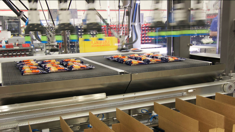 Robotic Case Packer packing at speeds up to 200 pouches per minute.