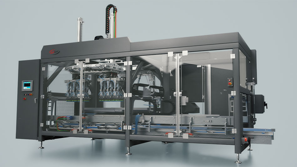 Robotic Case Packer with flexible configuration with product infeed