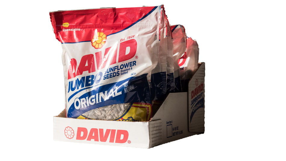 Seeds and nuts packaging retail ready package design David sunflower seeds
