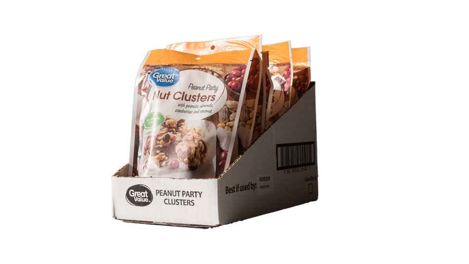 Seeds and nuts packaging retail ready case great value nut clusters