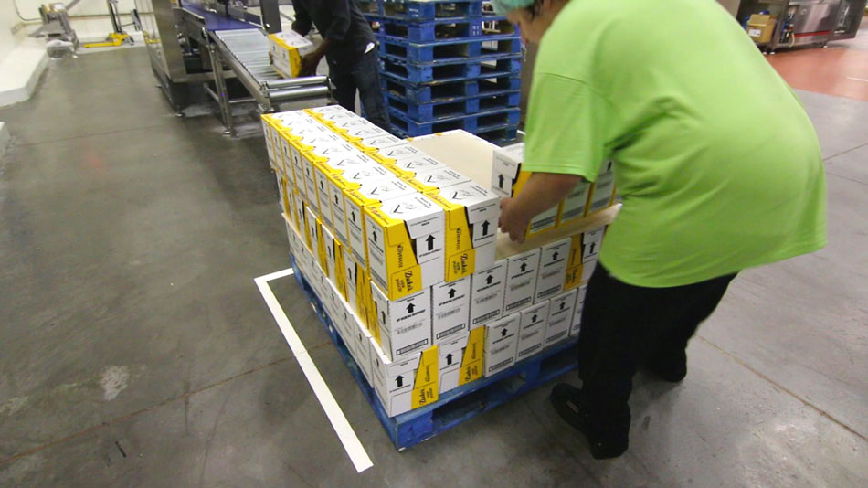 Hand pack system for retail ready cases getting pallet stacked