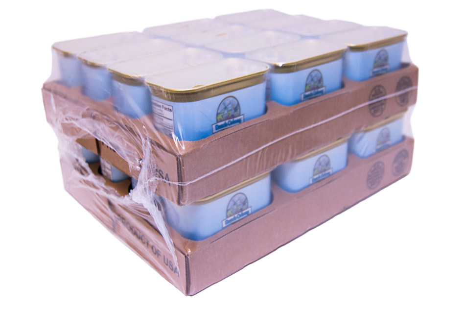Tray shrink package dual stacked layer for more efficient distribution