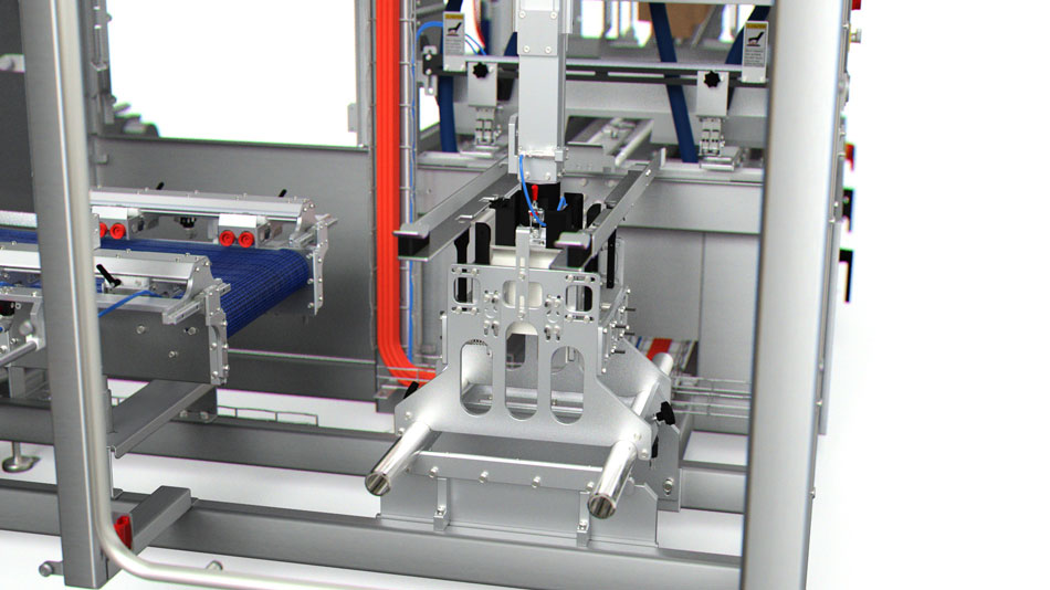 Case former tooling arm can be changed for cases, retail ready packages and stackable trays.