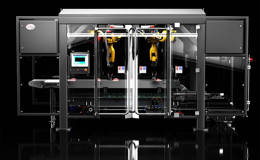 Delkor MSP-m robotic case packer with integrated FANUC Robotics